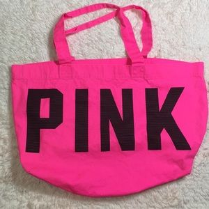 Pink bag large with pocket inside great Beach bag